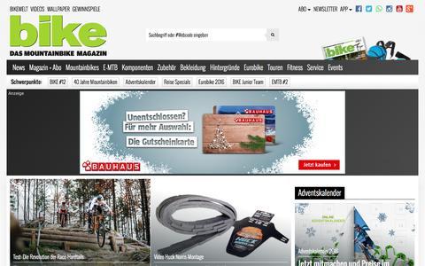 Screenshot of Home Page bike-magazin.de - BIKE - das Mountainbike Magazin - captured Dec. 4, 2016
