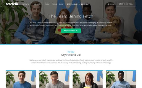 Screenshot of About Page sofetch.me - About Us - Fetch | Visual Commerce & Marketing Platform - captured July 8, 2018