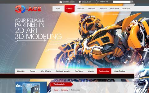 Screenshot of Testimonials Page 3d-ace.com - Customer Testimonials - 3D-Ace Studio - captured Aug. 29, 2016