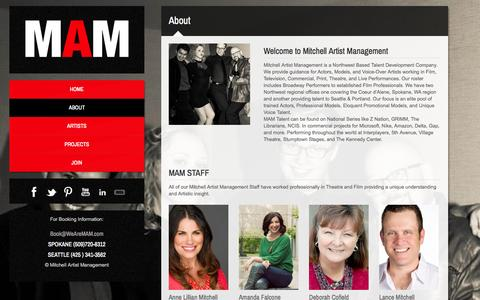 Screenshot of About Page wearemam.com - About MAM Mitchell Artist ManagementMAM - captured Oct. 23, 2014