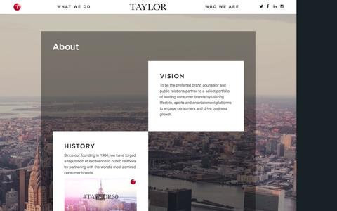 Screenshot of About Page taylorstrategy.com - About Us - Taylor - captured Feb. 18, 2016
