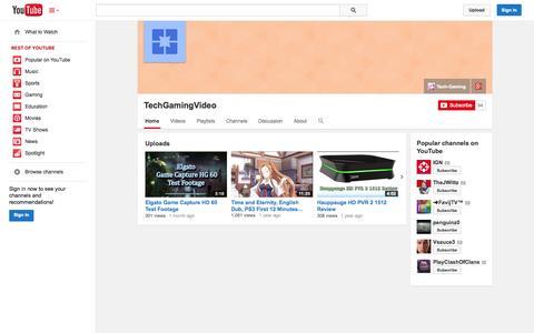 Screenshot of YouTube Page youtube.com - TechGamingVideo  - YouTube - captured Oct. 24, 2014