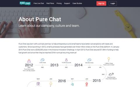 Screenshot of About Page purechat.com - Learn About Pure Chat - captured Nov. 2, 2019