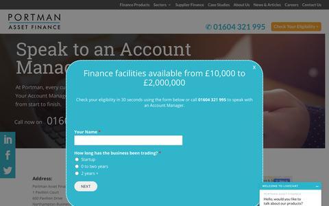 Screenshot of Contact Page portmanassetfinance.co.uk - Contact Us - Portman Asset Finance - captured Sept. 28, 2018