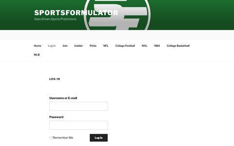 Screenshot of Login Page sportsformulator.com - Log In - SportsFormulator - captured Nov. 6, 2017