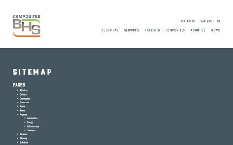 Screenshot of Site Map Page compositesbhs.com - Sitemap   BHS Composites - captured Sept. 29, 2018