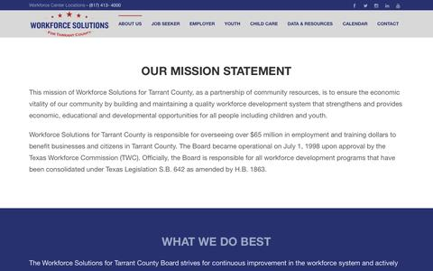 Screenshot of About Page workforcesolutions.net - About Us | Workforce Solutions for Tarrant County - captured Oct. 26, 2014