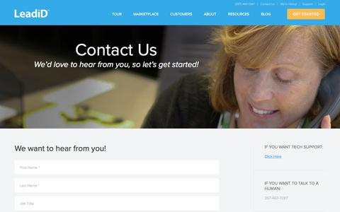 Screenshot of Contact Page leadid.com - Contact Us | LeadiD - captured Sept. 16, 2014