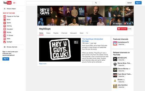 Screenshot of YouTube Page youtube.com - HeyUGuys  - YouTube - captured Oct. 22, 2014