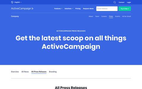 Screenshot of Press Page activecampaign.com - Press Releases   ActiveCampaign - captured June 18, 2019