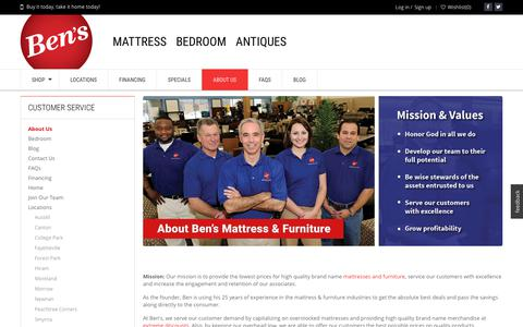 Screenshot of About Page bens.com - Ben's.com - About Us - Lowest Price Mattress and Furniture - captured Oct. 10, 2017