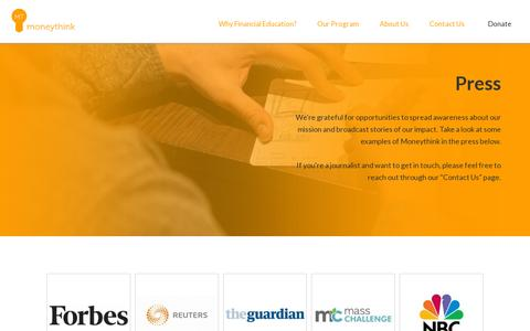 Screenshot of Press Page moneythink.org - Press | Moneythink : Moneythink - captured July 20, 2014