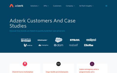 Screenshot of Case Studies Page adzerk.com - Adzerk Customers And Case Studies - captured Dec. 11, 2018