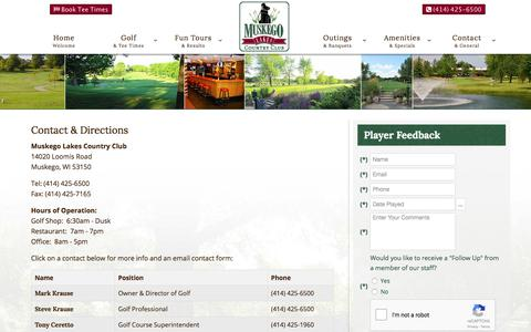 Screenshot of Contact Page Maps & Directions Page muskegolakes.com - Muskego Lakes Country Club | Muskego, WI | Public Golf Course - Contact & Directions - captured Nov. 12, 2017