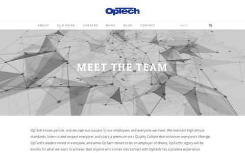Screenshot of Team Page optechus.com - Meet the Team - We are OpTech - captured Jan. 19, 2018