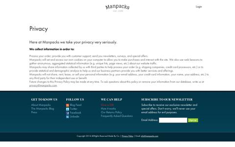 Screenshot of Privacy Page manpacks.com - Manpacks respects your privacys - captured Sept. 11, 2014