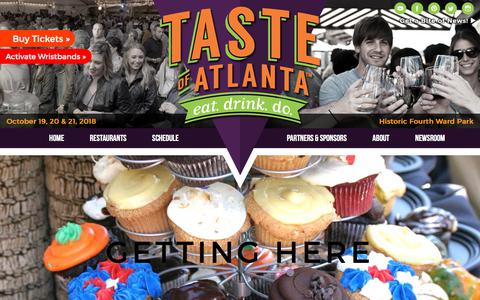 Screenshot of Maps & Directions Page tasteofatlanta.com - Taste of Atlanta - Oct 19-21, 2018 in Historic Fourth Ward Park - captured Sept. 20, 2018