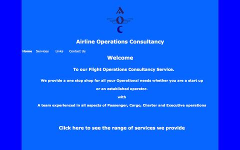 Screenshot of Home Page aoc.uk.com - AOC - Airline Operations Consultancy - captured Oct. 4, 2014