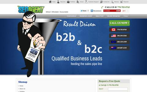 Screenshot of Site Map Page theseoagent.com - The SEO Agent | sitemap - captured Oct. 9, 2014