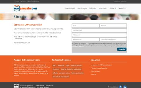 Screenshot of Signup Page domannuaire.com - DOM annuaire | Business Directory - captured Oct. 5, 2014