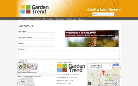 Screenshot of Contact Page gardentrend.com.au - Contact Us   Garden Trend - captured Sept. 29, 2014
