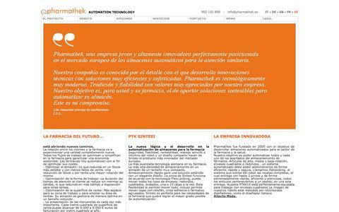 Screenshot of Home Page pharmathek.es - Nuestros Robots - Sintesi - captured Sept. 30, 2014