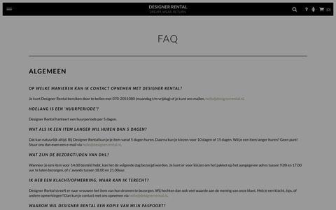 Screenshot of FAQ Page designerrental.nl - FAQ � Designer Rental - captured Jan. 7, 2016