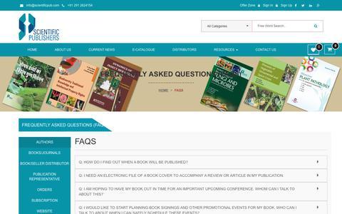 Screenshot of FAQ Page scientificpub.com - Welcome to scientificpub - captured Nov. 19, 2016