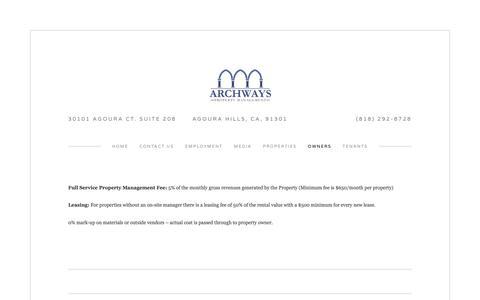 Screenshot of Pricing Page archwaysmanagement.com - Pricing — Archways Property Management - captured Nov. 12, 2018