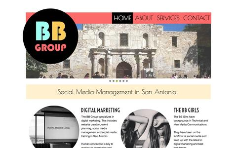 Screenshot of Home Page bbdigitalmarketing.com - Social Media Management, Social Media Training - The Bb Group - San Antonio, Tx - captured Oct. 4, 2014