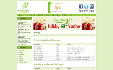 Screenshot of Pricing Page pranoga.com - Pricing - captured Dec. 10, 2015
