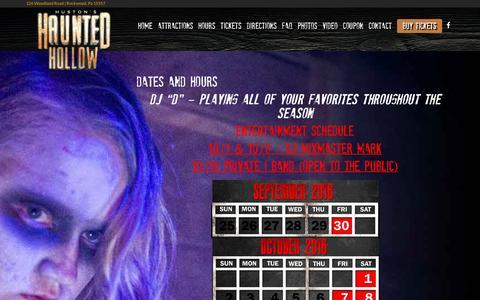 Screenshot of Hours Page hauntedhollow.net - Hours - Haunted Hollow - captured April 9, 2017