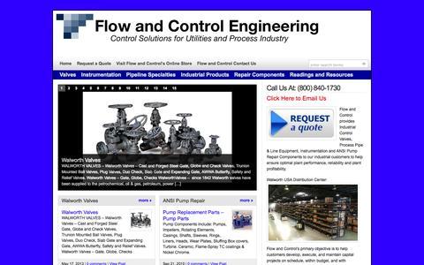 Screenshot of Home Page flowandcontrol.com - Flow and Control - Valves, Instrumentation & ANSI Pump Repair  : Flow and Control - captured Oct. 6, 2014