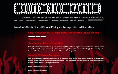 Screenshot of Pricing Page soundtrackevents.com - Soundtrack Events: Straight Forward Pricing and Packages with No Hidden Fees  » Soundtrack Events: Mobile Disc Jockey,DJ/MC, Wedding Officiant, Photo Booth Rockford IL, Northern IL Southern WI - captured Feb. 24, 2016