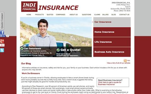 Screenshot of Blog indifinancial.com - INDI FINANCIAL's Insurance Blog and safety articles | INDI FINANCIAL, P.A. | Jacksonville, Florida 32256 - captured Oct. 3, 2014