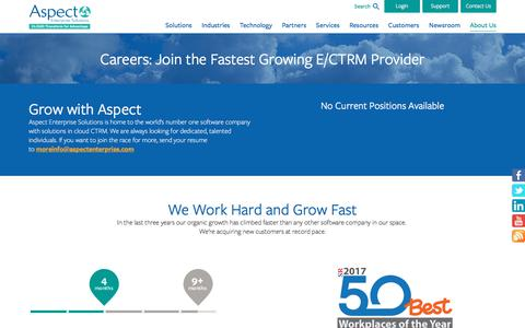 Screenshot of Jobs Page aspectenterprise.com - Careers & Opportunities with Aspect Enterprise Solutions - captured Nov. 9, 2019