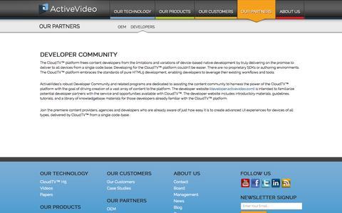 Screenshot of Developers Page activevideo.com - ActiveVideo Developer Community - ActiveVideo® - captured Sept. 30, 2014