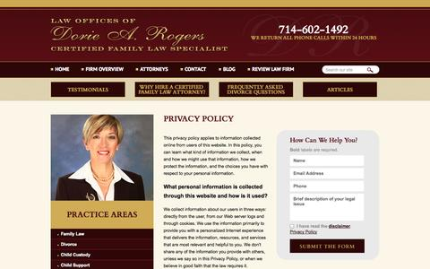 Screenshot of Privacy Page drfamilylaw.com - Privacy Policy | The Law Offices of Dorie A. Rogers, APC | Orange County, California - captured Oct. 2, 2014