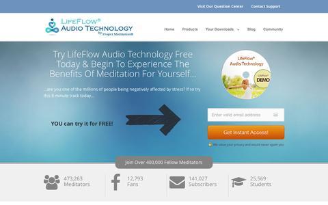 Screenshot of Home Page project-meditation.org - Project Meditation® | Home of LifeFlow Audio Technology® — Project Meditation - captured Jan. 21, 2016