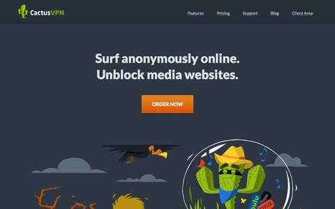 Screenshot of Home Page cactusvpn.com - Surf anonymously online. Unblock media websites. - captured July 17, 2015
