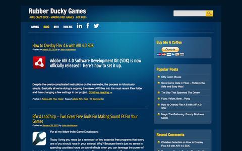 Screenshot of Blog rubberduckygames.com - BLOG   Rubber Ducky Games - captured Oct. 27, 2014