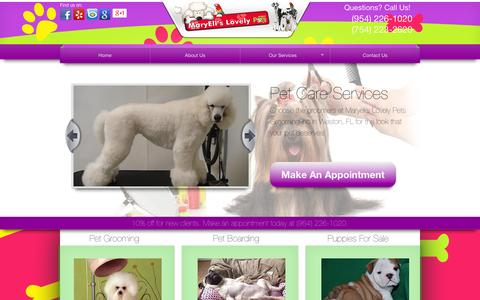 Screenshot of Home Page maryelislovelypets.com - Maryeli's Lovely Pets Grooming Inc - Weston, FL | (754) 223-2620 - captured Oct. 6, 2014