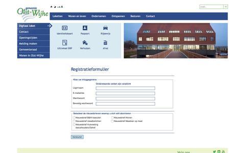 Screenshot of Signup Page olst-wijhe.nl - Gemeente Olst-Wijhe | Registreren - captured Nov. 4, 2016
