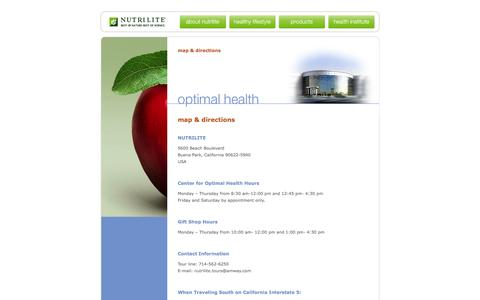 Screenshot of Maps & Directions Page nutrilite.com - Nutrilite Health Institute Center for Optimal Health Map and Directions - captured Jan. 20, 2016