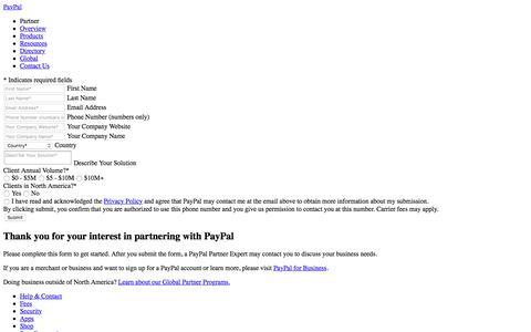 Contact Us - PayPal Partner Program North America