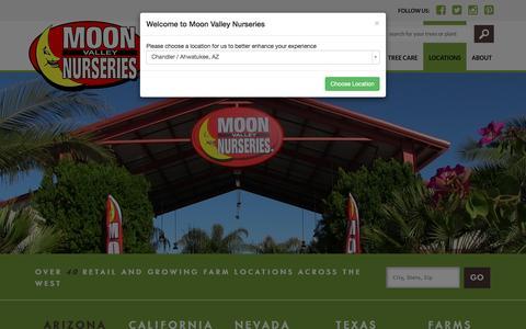 Screenshot of Locations Page moonvalleynurseries.com - Locations | Tree & Plant Nursery | Moon Valley Nurseries - captured April 5, 2016