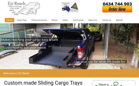 Screenshot of Home Page ezireach.com.au - Sliding cargo tray|ute sliding tray|cargo drawers|EziReach Australia - captured Nov. 11, 2018