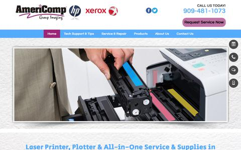 Screenshot of Home Page americompgroup.com - Laser Printer Service & Repair |  Alta Loma, CA | Americomp Group - captured Oct. 8, 2017