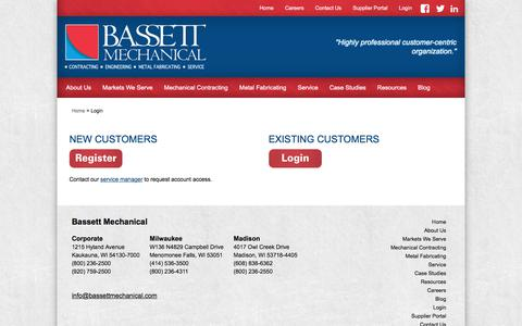 Screenshot of Login Page bassettmechanical.com - Login - Bassett Mechanical - captured Aug. 1, 2018