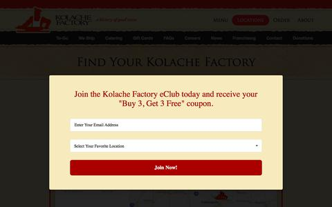 Screenshot of Locations Page kolachefactory.com - Kolache Factory: A History of Good Taste - Locations - captured Dec. 14, 2017
